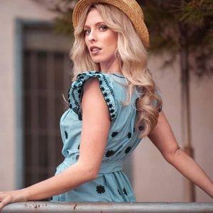 Zara Dresses - Pretty Zara striped dress with embroidery